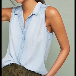 Anthro Cloth & Stone Split Back Chambray Top